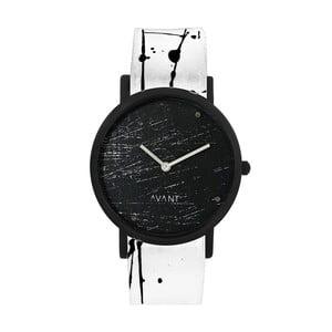 Čierne unisex hodinky s bielo-čiernym remienkom South Lane Stockholm Avant Raw