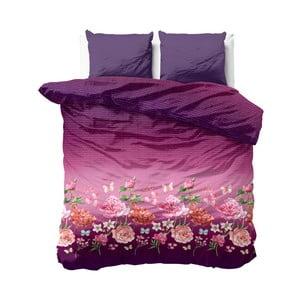 Ružovo-fialové obliečky z mikroperkálu Zensation Bright Flowers, 240×220 cm