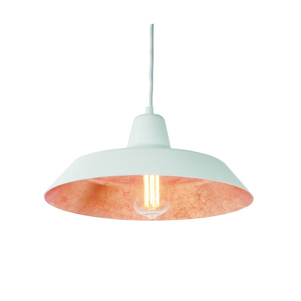 Biele stropné svietidlo s detailom v medenej farbe Bulb Attack Cinco