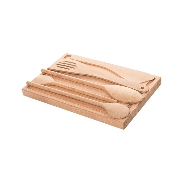 Doštička s kuchynskými nástrojmi Sola Basic Wood