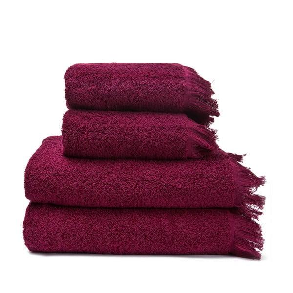 Set 2 vínových bavlnených uterákov a 2 osušiek Casa Di Bassi Bath