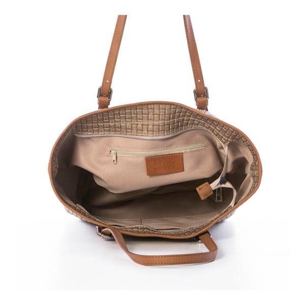 Béžová kožená kabelka Federica Bassi Alya