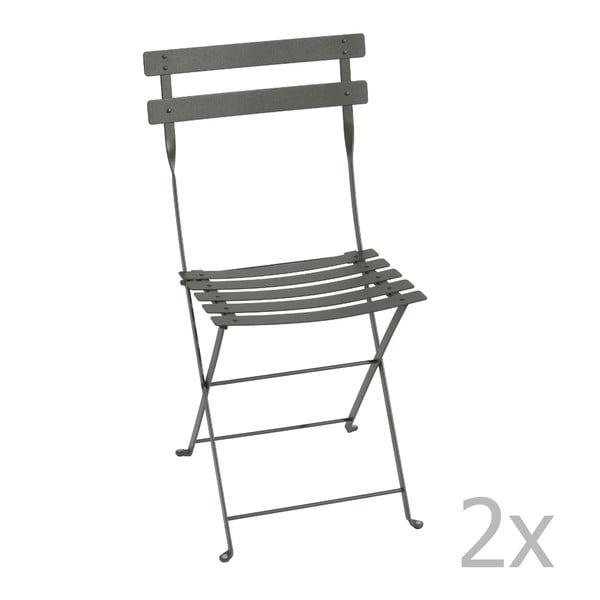 Sada 2 sivých skladacích stoličiek Fermob Bistro