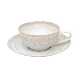 Biely hrnček s tanierikom z kameniny Casafina Taormina, 200 ml