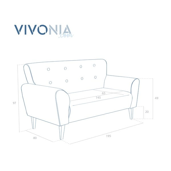 Bordó pohovka pre troch Vivonita Klara