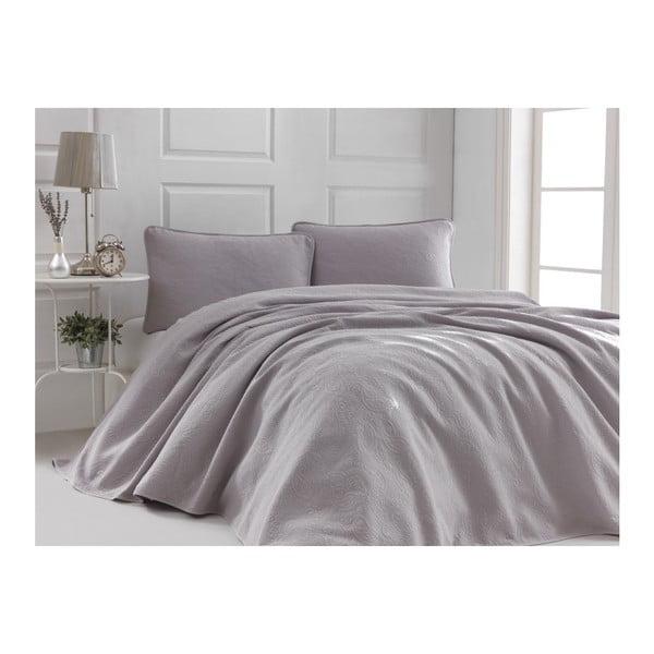 Sivoružový set bavlnenej prikrývky na dvojlôžko a 2 obliečok na vankúše Sal, 220 × 240 cm