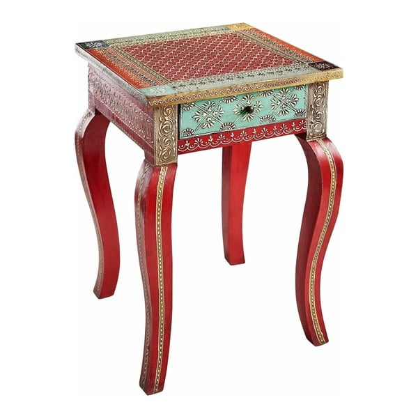 Červený odkladací stolík z mangového dreva Støraa Vito