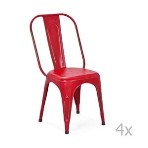 Sada 4 červených kovových jedálenských stoličiek Interlink Aix