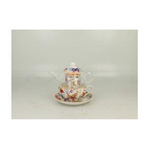 Set sklenenej kanvičky a porcelánového hrnčeka s tanierikom Duo Gift Cubic