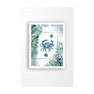 Nástenný obraz na plátne v bielom ráme Tablo Center Blue Crab, 29 × 24 cm