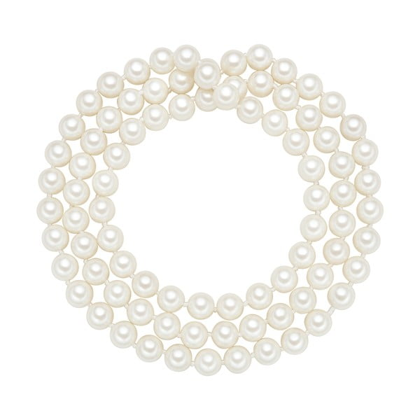 Náhrdelník s bielymi perlami ⌀ 8 mm Perldesse Muschel, dĺžka 80 cm