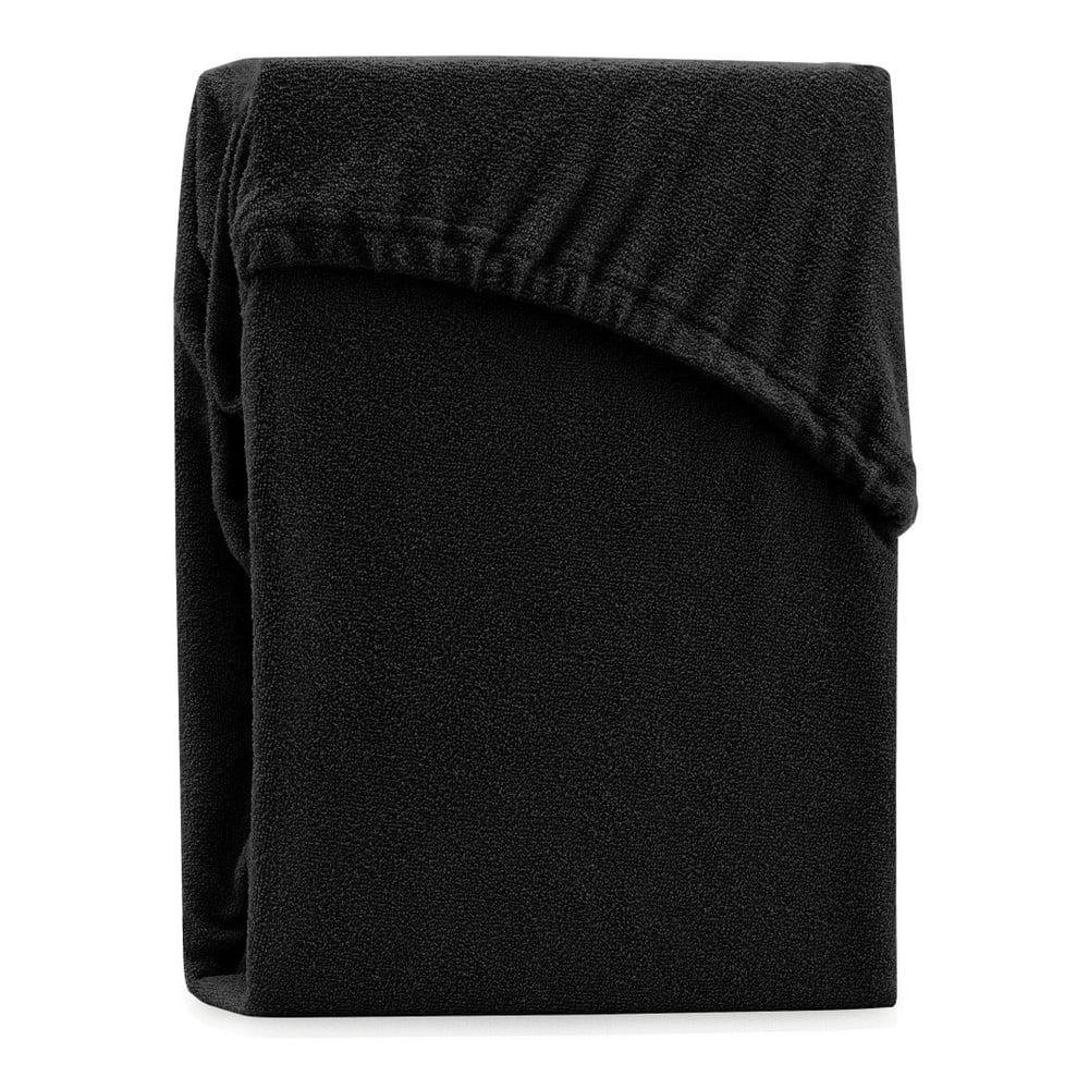 Čierna elastická plachta na dvojlôžko AmeliaHome Ruby Black, 220-240 x 220 cm