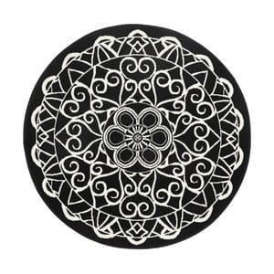 Čierny okrúhly koberec Hanse Home Mandala