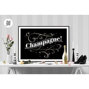 Plagát Champagne BW, A2