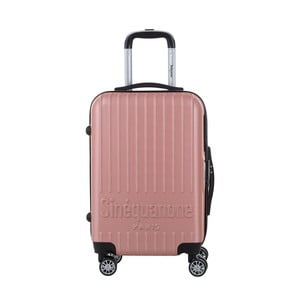 Svetloružový cestovný kufor na kolieskách s kódovým zámkom SINEQUANONE Iskra, 44 l