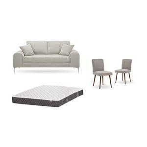 Set dvojmiestnej krémovej pohovky, 2 sivobéžových stoličiek a matraca 140 × 200 cm Home Essentials
