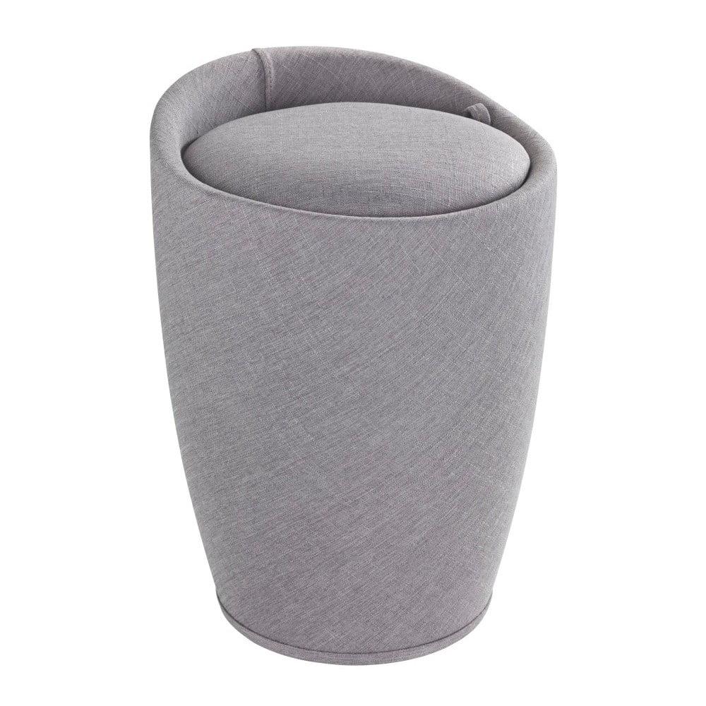 Svetlo sivý kôš na bielizeň a taburetka v jednom Wenko Linen Look, 20 l