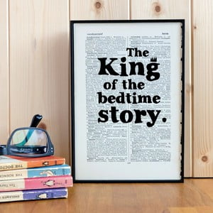 Plagát v drevenom ráme King of the Bedtime Story