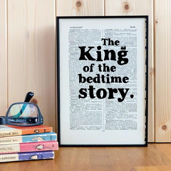 Plagát v drevenom ráme King of the Bedtime Story