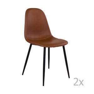 Sada 2 hnedých stoličiek s čiernymi nohami House Nordic Štokholm