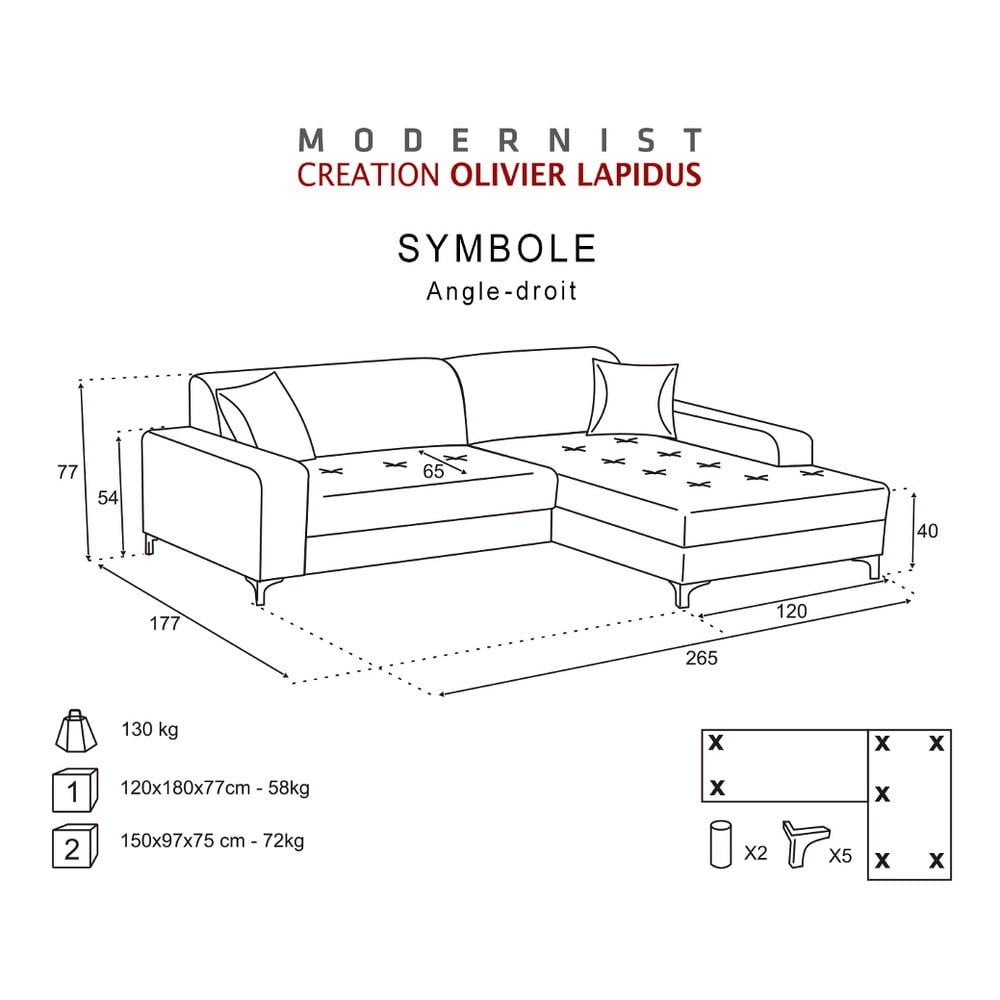 ierna pohovka modernist symbole prav roh bonami. Black Bedroom Furniture Sets. Home Design Ideas