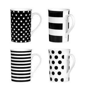 Sada 4 hrnčekov Premier Housewares Spots and Stripes Black, 270 ml