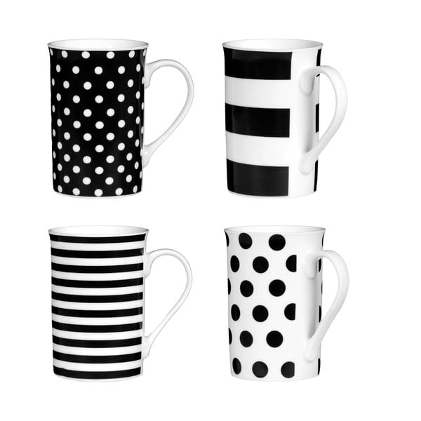 Sada 4 hrnčekov Premier Housewares Spots and Stripes Black, 270 ml
