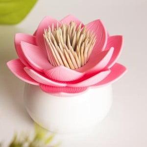 Stoján na špáradlá QUALY Lotus Toothpick, biely-ružový