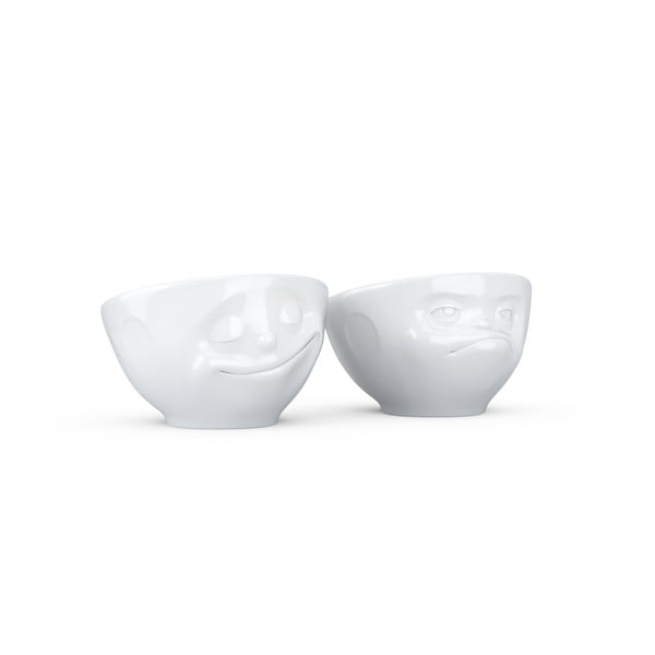 Sada 2 bielych porcelánových kalíškov na vajíčka 58products Happy & Hmpff