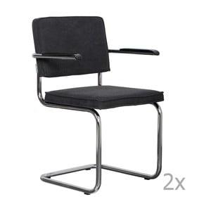 Sada 2 antracitovosivých stoličiek s opierkami Zuiver Ridge Rib