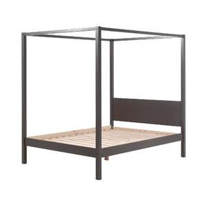 Sivá detská posteľ Vipack Pino Canopy, 140 × 200 cm