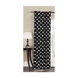 Čierny vzorovaný záves z mikrovlákna DecoKing Rhombuses, 140×245cm