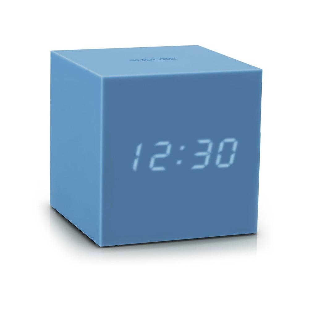 Azúrovomodrý LED budík Gingko Gravitry Cube