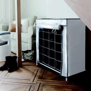Čierno-biely textilný stojan na topánky Compactor Shoes, 20 přihrádek