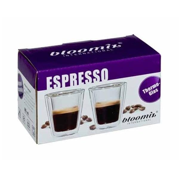 Sada 2 sklenených hrnčekov na espresso bloomix Milano
