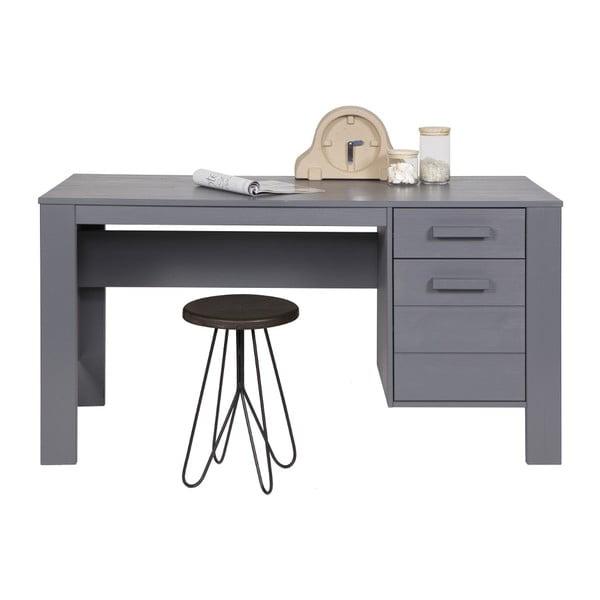 Oceľovosivý písací stôl z borovicového dreva DeEekhoorn Dennis