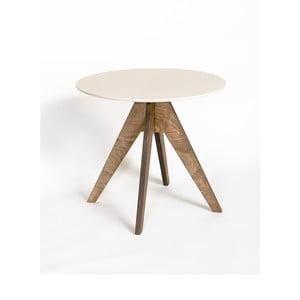 Jedálenský stôl s tmavohnedou podnožou a bielou doskou Radis Edi, priemer 85 cm