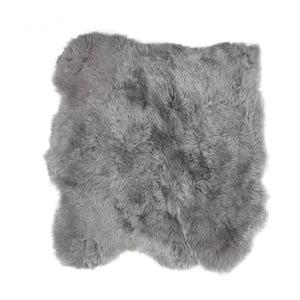 Sivý kožušinový koberec s krátkým vlasom Busta, 90 x 80 cm