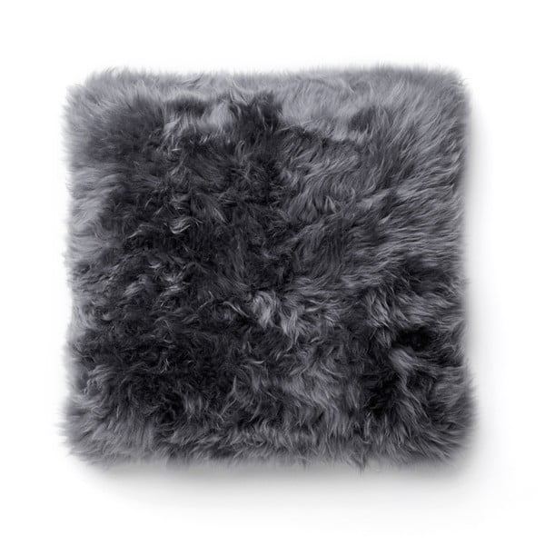 Sivý vankúš z ovčej kožušiny Royal Dream Sheepskin, 30 x 30 cm