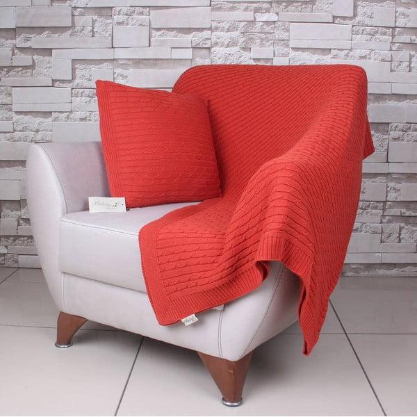 Oranžová bavlnená deka Celma