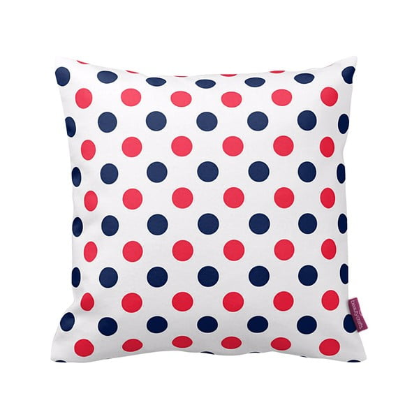 Vankúš Red and Navy Dots, 43x43 cm