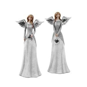 Sada 2 dekoratívnych anjelov so sivým kabátikom Ego dekor Selma, výška 25,5 cm