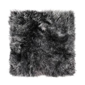 Antracitový kožušinový podsedák s dlhým vlasom Arctic Fur Eglé, 37 × 37 cm