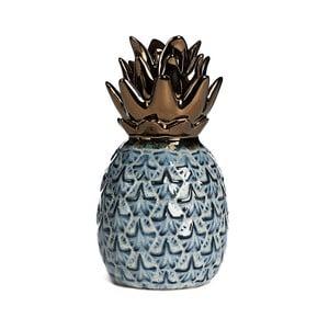 Modrý keramický dekoratívny ananás Simla Nanas, výška 17,5 cm