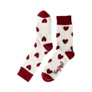 Červeno-biele ponožky Funky Steps Love, veľkosť 35 - 39