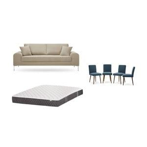 Set trojmiestnej sivobéžovej pohovky, 4 modrých stoličiek a matraca 160 × 200 cm Home Essentials