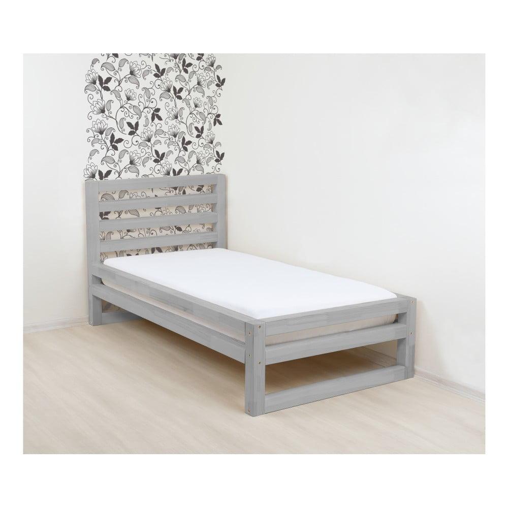 Sivá drevená jednolôžková posteľ Benlemi DeLuxe, 200 × 120 cm