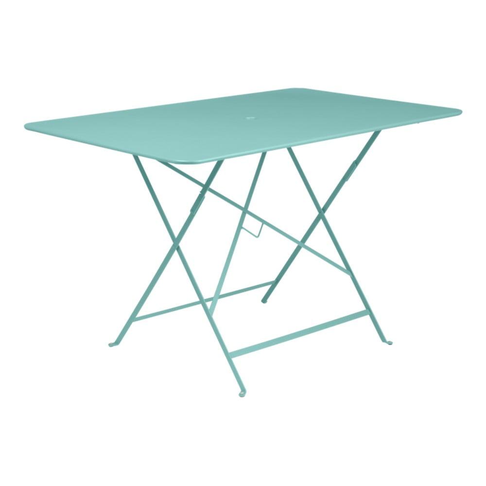 Svetlomodrý skladací záhradný stolík Fermob Bistro, 117 × 77 cm