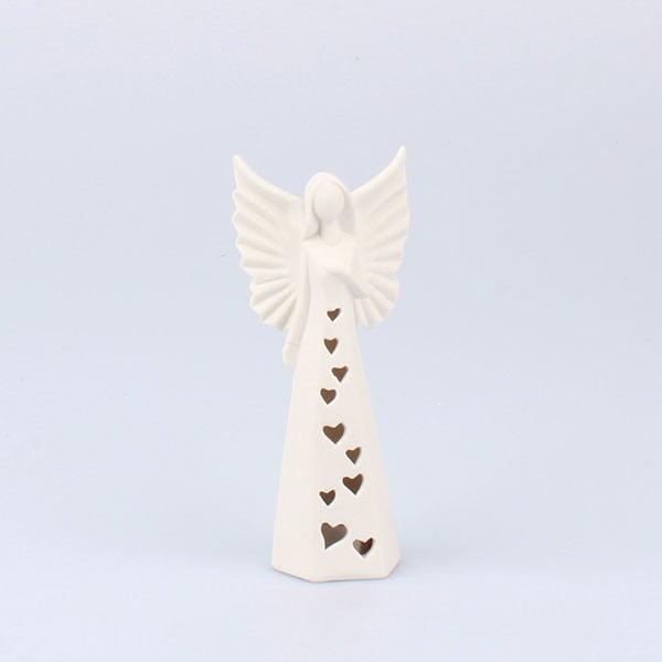 Porcelánový LED svietiaci anjel Dakls, výška 15 cm