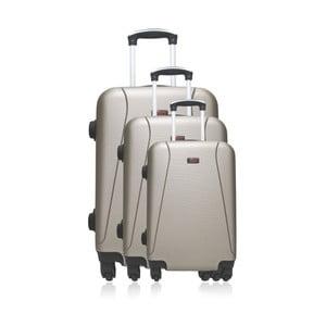 Sada 3 béžových cestovných kufrov na kolieskach Hero Jackson